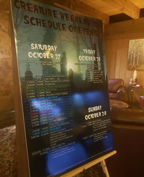 Schedule of events during Creature Weekend.