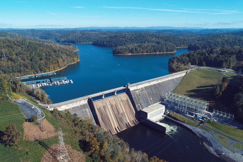 An aerial view of Norris Dam in Knoxville, Tennessee.