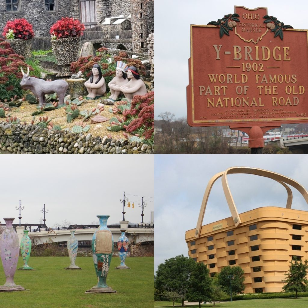 roadside attractions along the interstate range from a rock village to a bridge in the shape of a Y to a cluster of large vases to the world's largest basket.