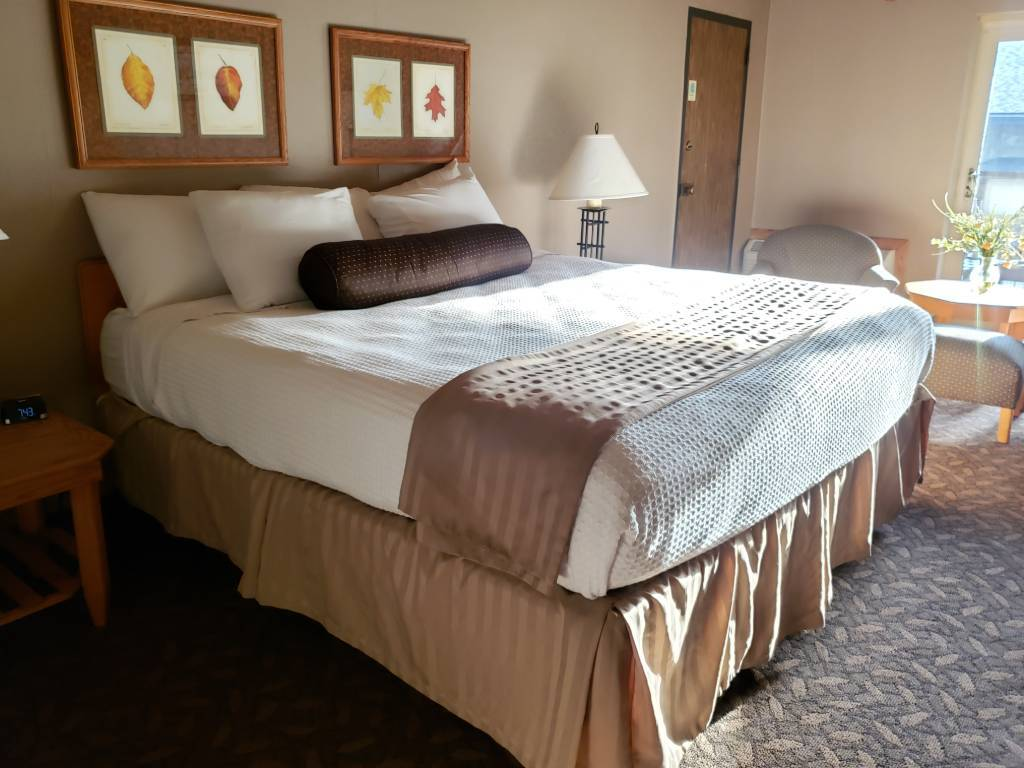 A comfortable bed in a bright airy room.