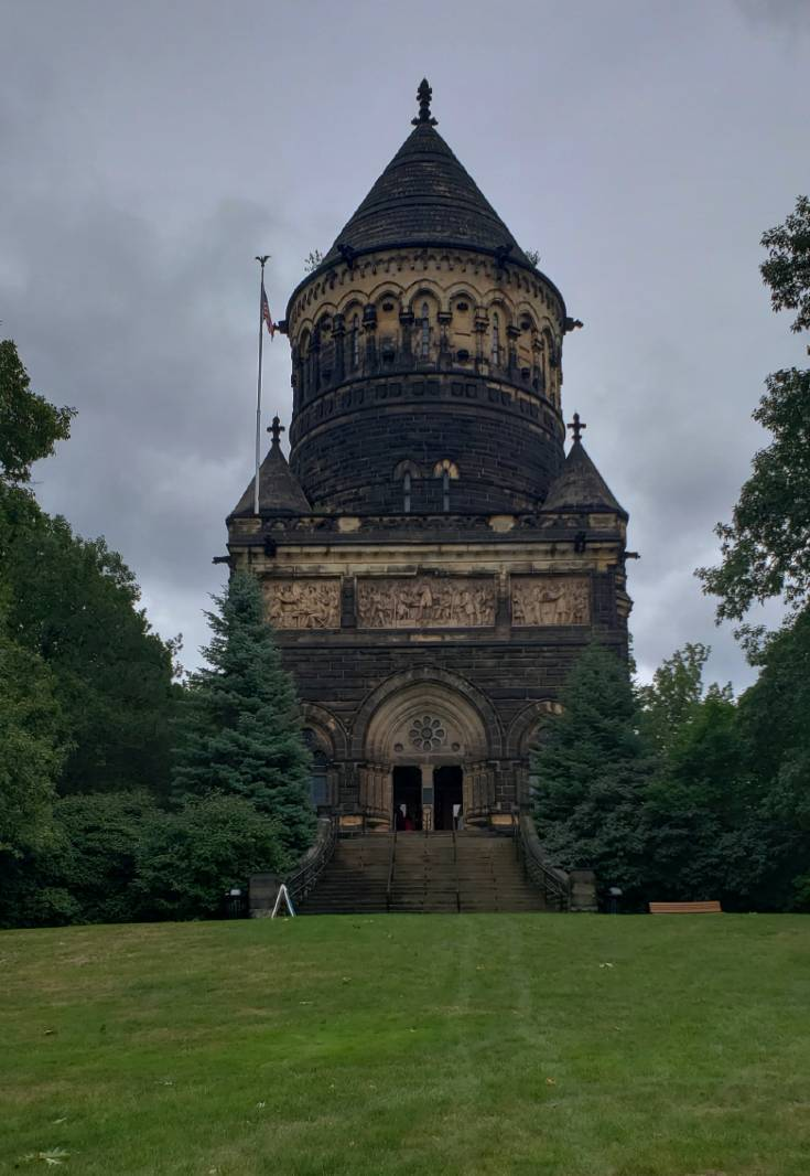 The Exterior of the Garfield Memorial is dark and ominous.