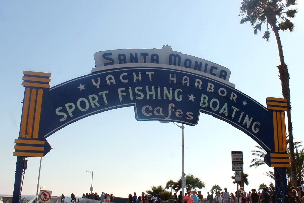 The arch welcoming you to the Santa Monica Pier