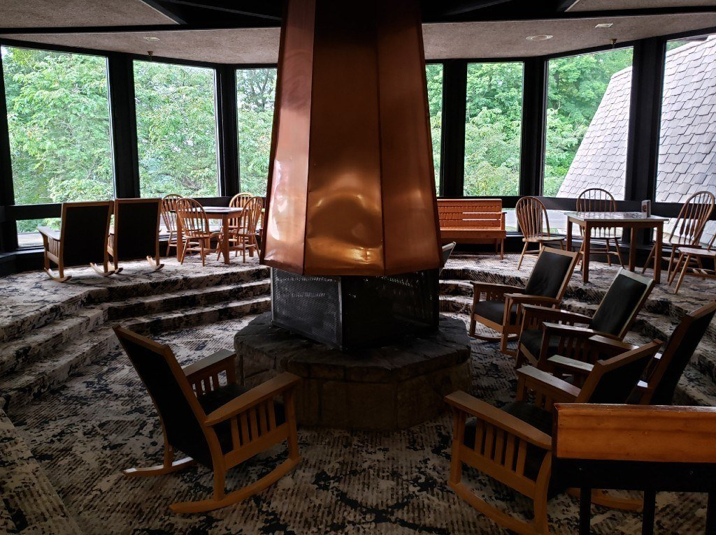 Indoor Fire Pit with View of the lake