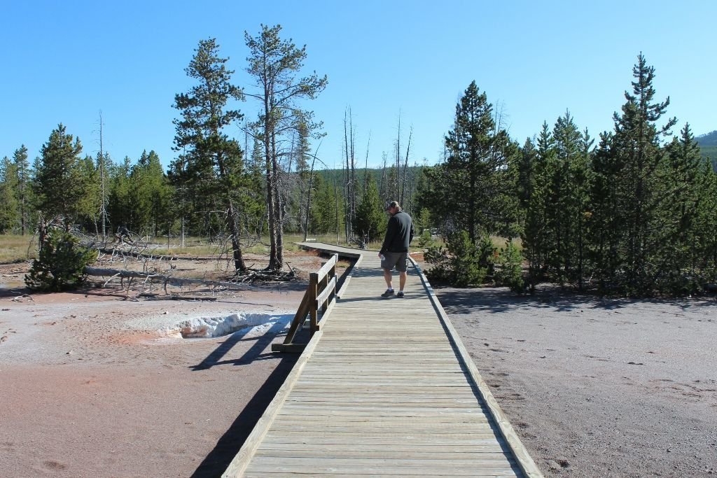 A man takes a morning walk through geothermal fields in Yellowstone along a boardwalk.