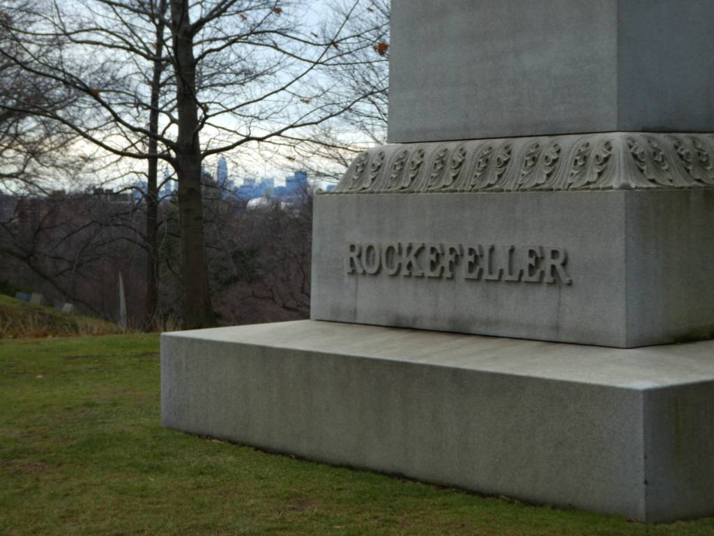 This tombstone which pays homage to the Rockefeller family can be seen in Cleveland at Lake View Cemetery.