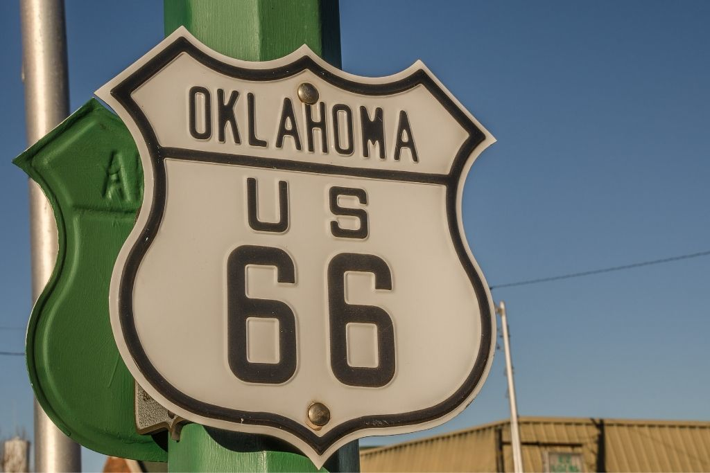 Route 66 street sign in Oklahoma