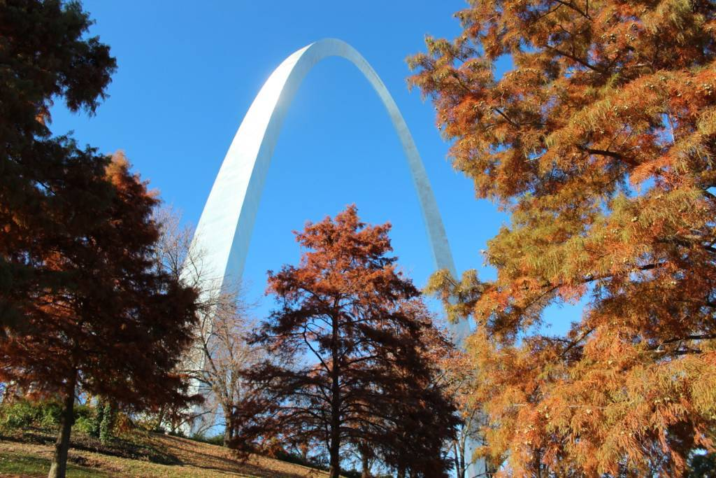 The St. Louis Arch shines against trees adorned in fall colors.