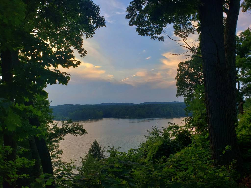 Pleasant Valley Lake as the sun sets.