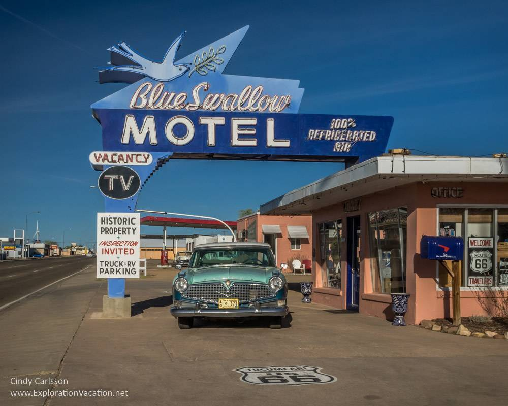 Tucumcari New Mexico on Route 66 - Blue Swallow - ExplorationVacation