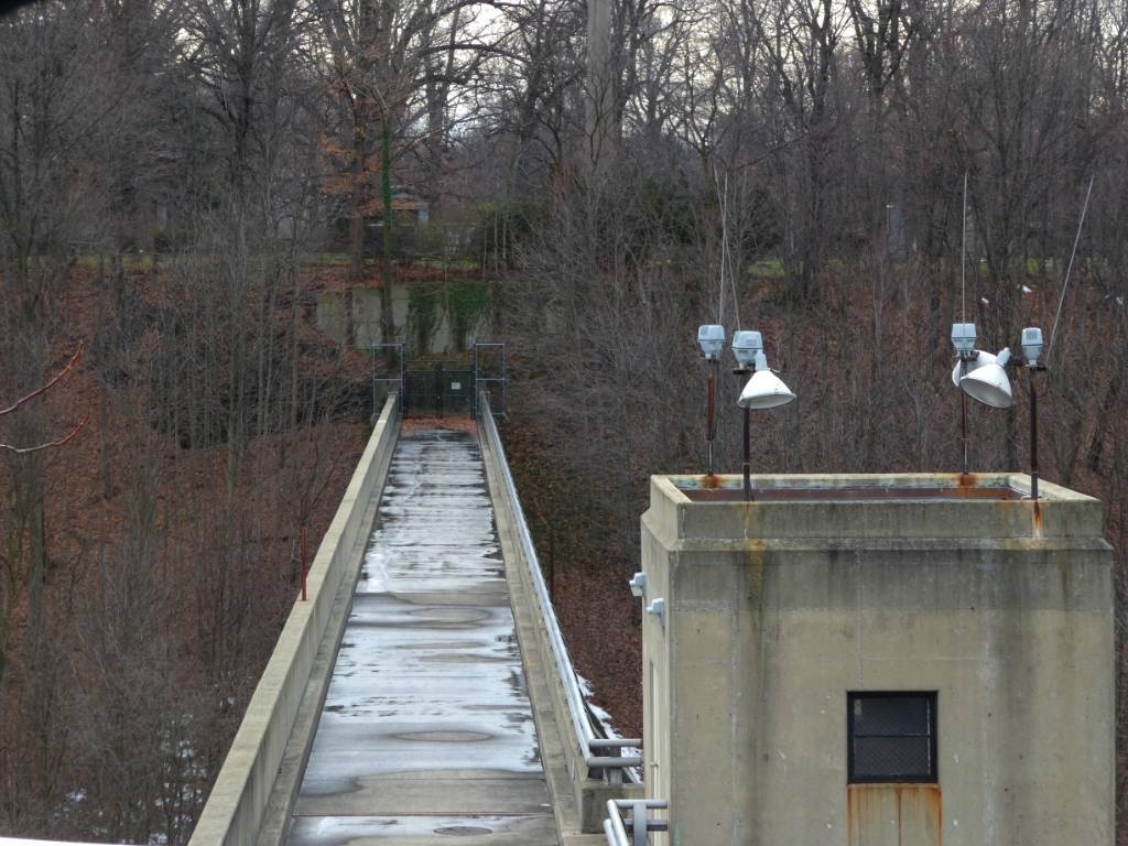 A concrete dam over a ravine in Cleveland