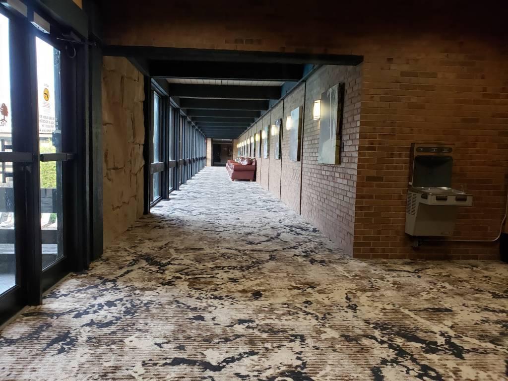 looking down a long hallway