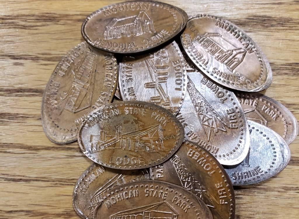 a handful of pressed pennies
