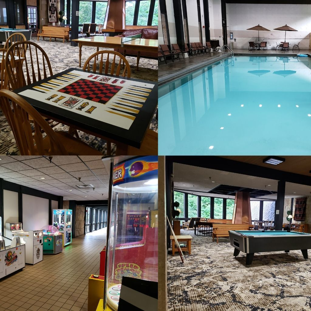 a collage of things to do at Mohican Lodge and Conference Center.