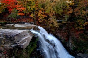 A gorgeous waterfall with a backdrop of trees adorned in fall colors.