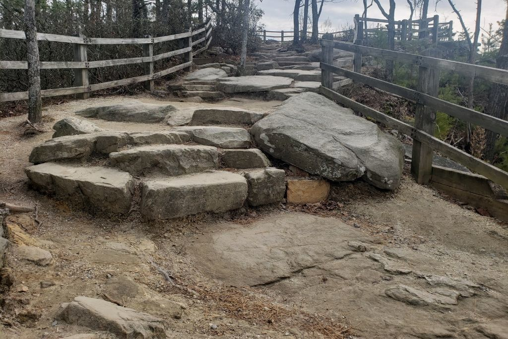 Natural Rock Stairs to overlook at Pilot Mountain State Park