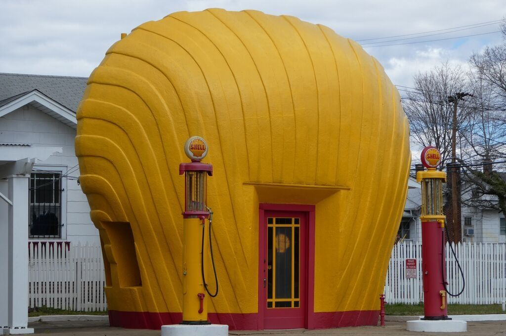 This retro Shell service station is found in North Carolina.