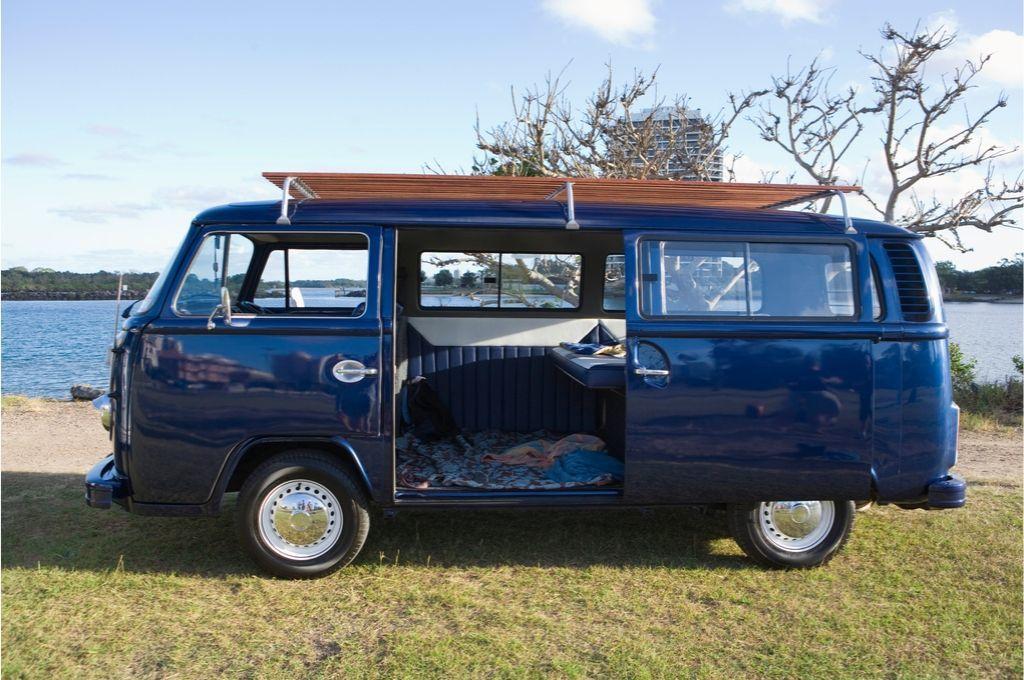 A VW van ready to camp.
