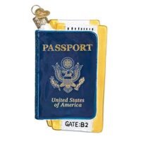 Passport Cities, Places and Landmarks Glass Blown Ornaments for Christmas Tree