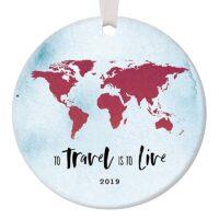 2019 Seasonal Ceramic Ornament Traveler Holiday Memento Keepsake Gift