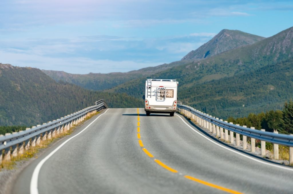 An RV driving along the highway