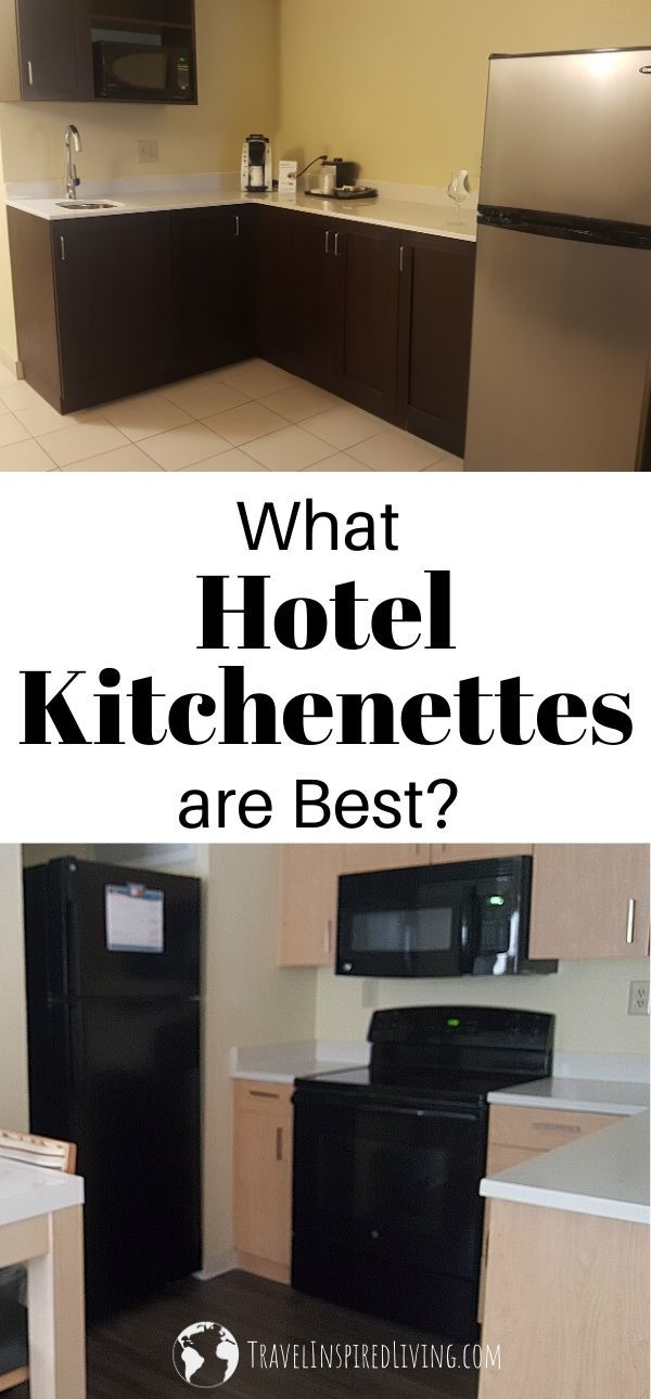 Photos of two different hotel kitchenettes