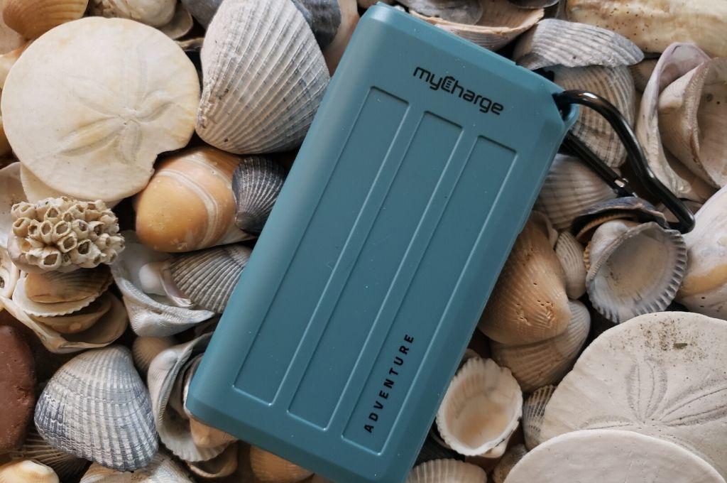 myCharge Adventure H2O laying on a bed of shells
