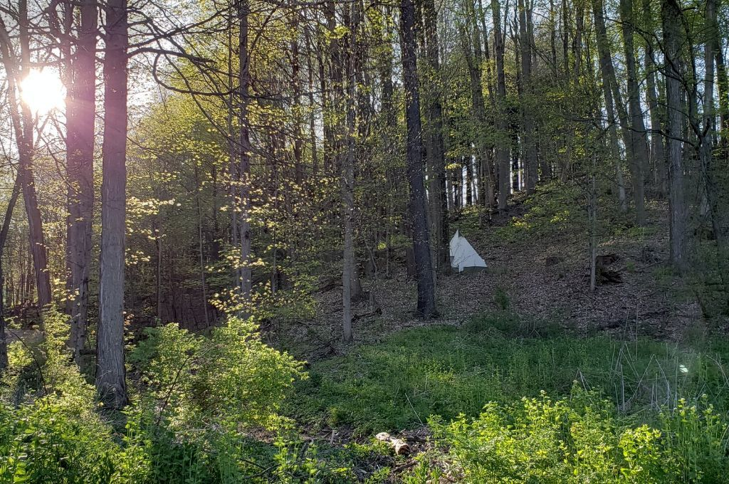 A teepee tent tucked away in the woods