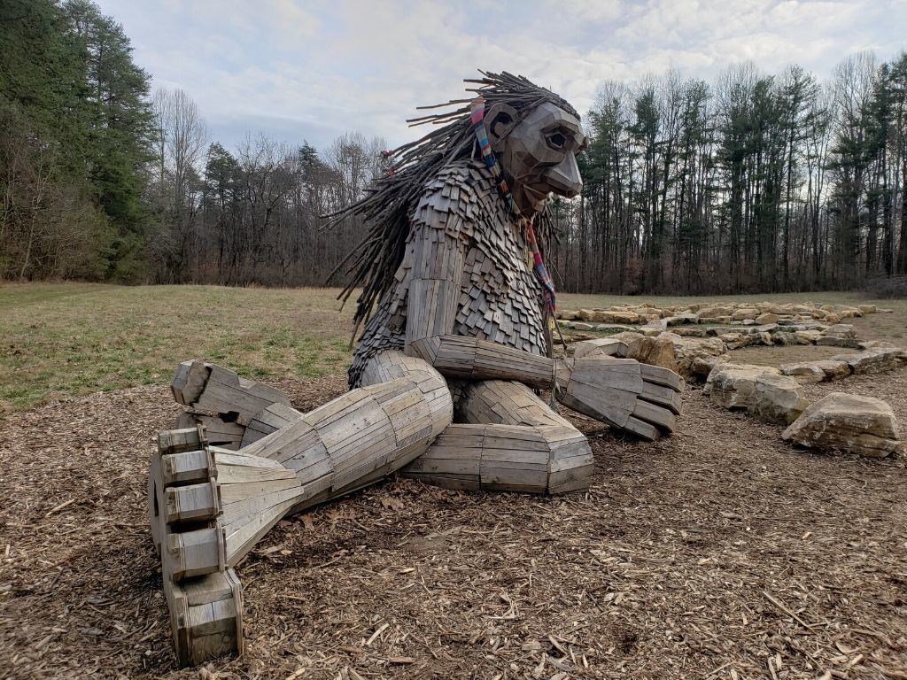 A giant troll made out of reclaimed wood