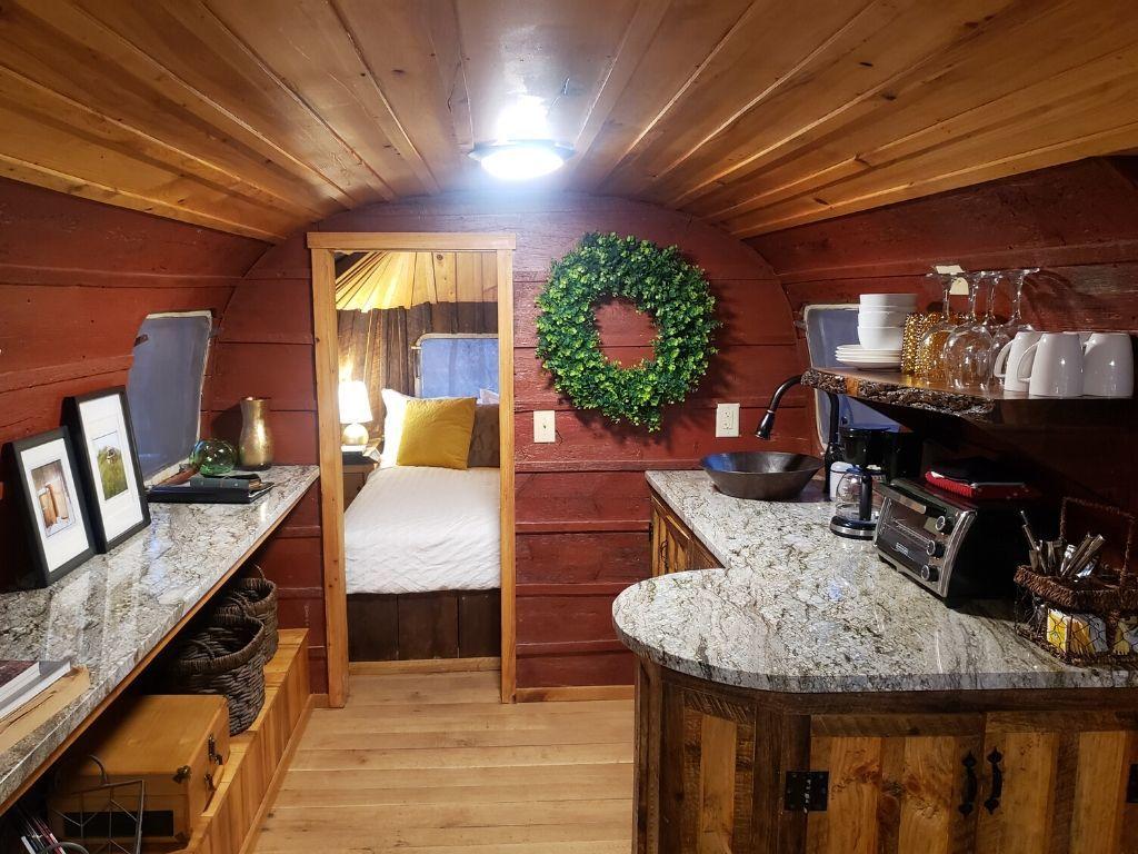 interior photo of a refurbished Airstream camper