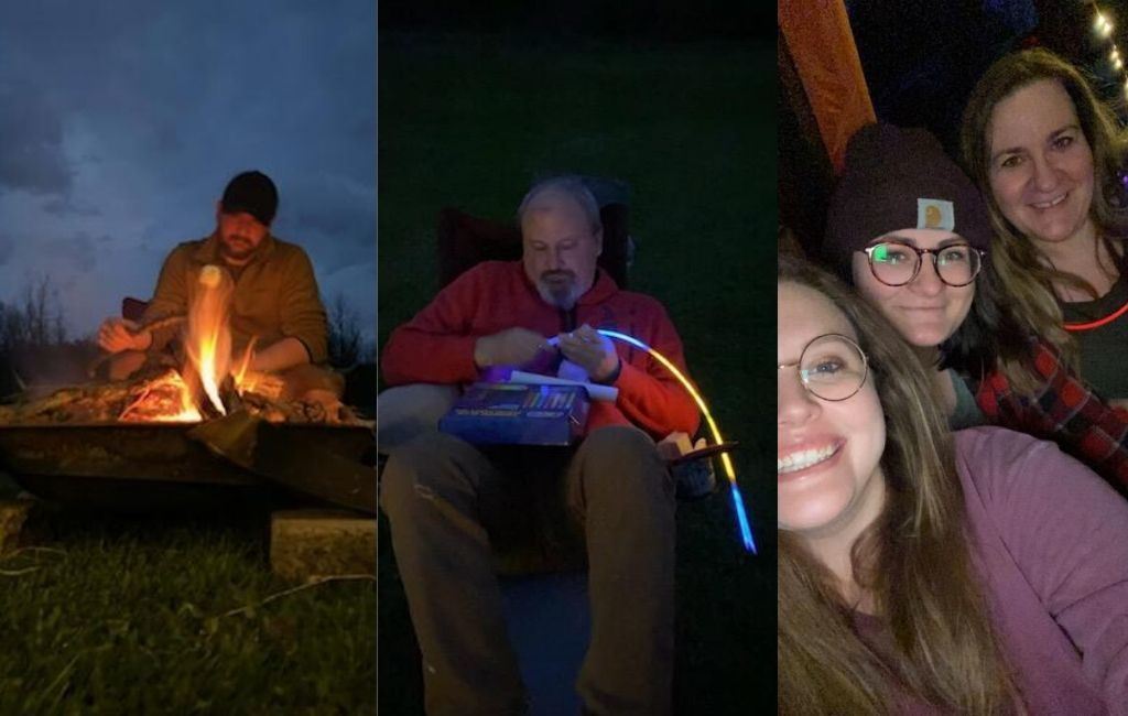 Campfires, glow sticks, friends and family make backyard glamping special.