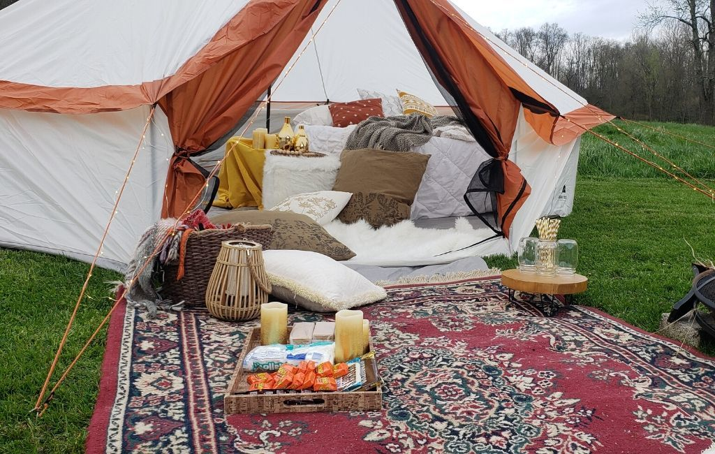 A glamping set-up in a yurt