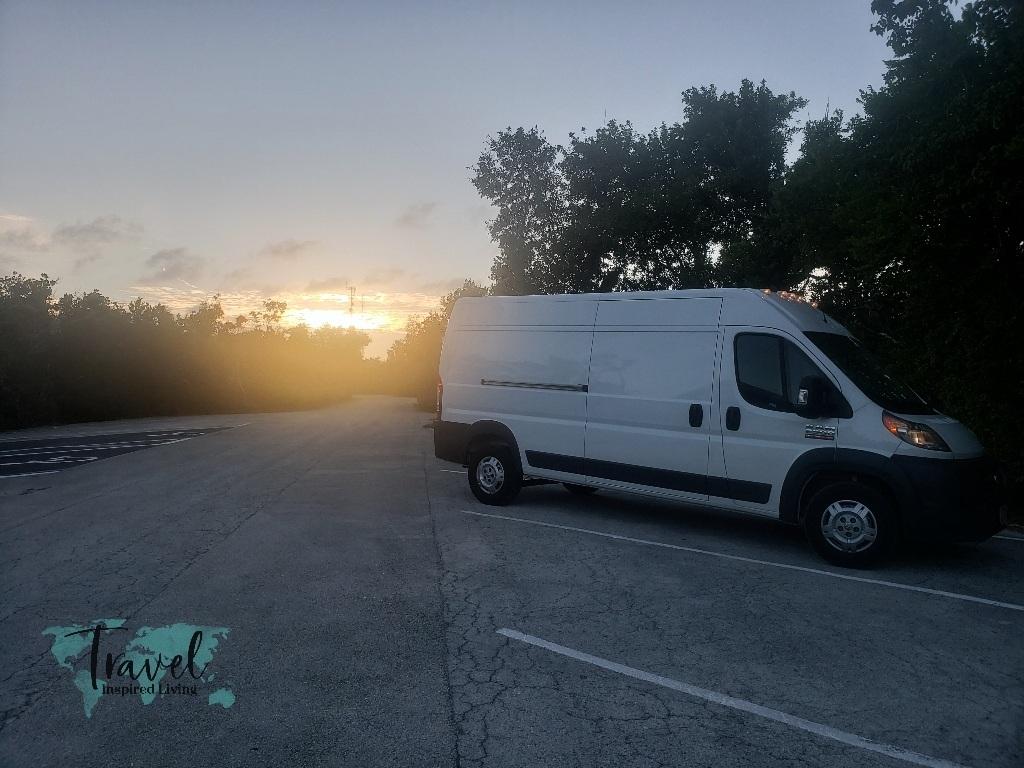 Sun setting while van camping.