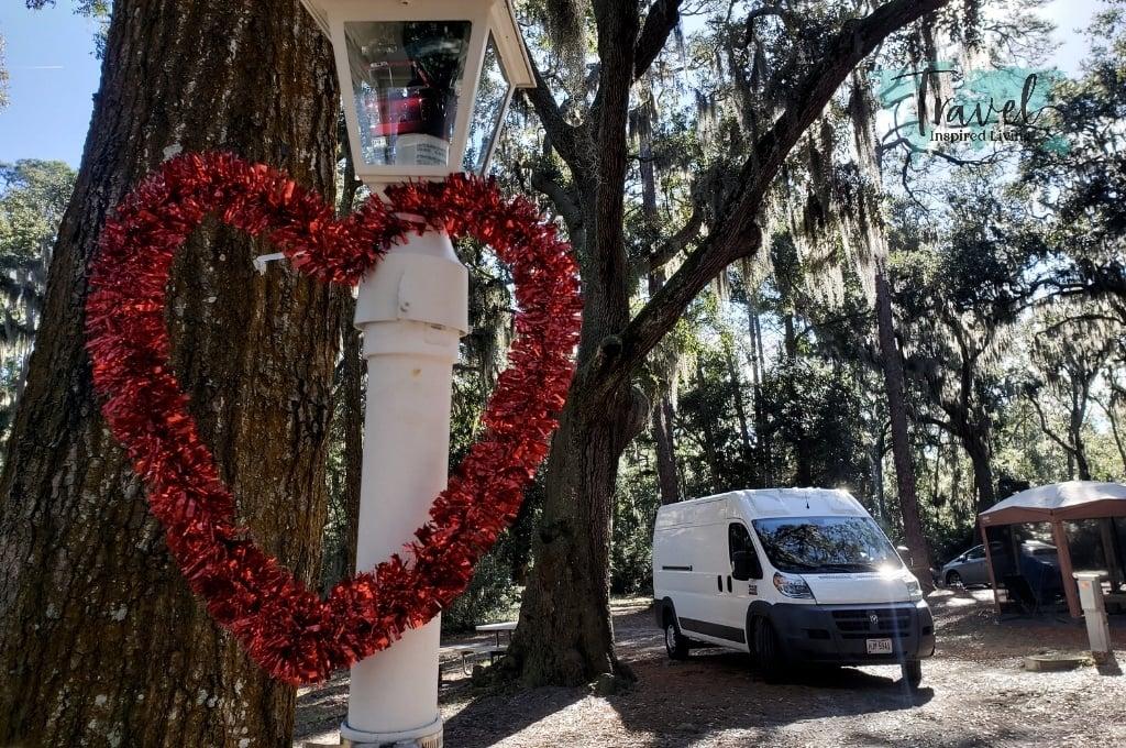 A camping van at a campground