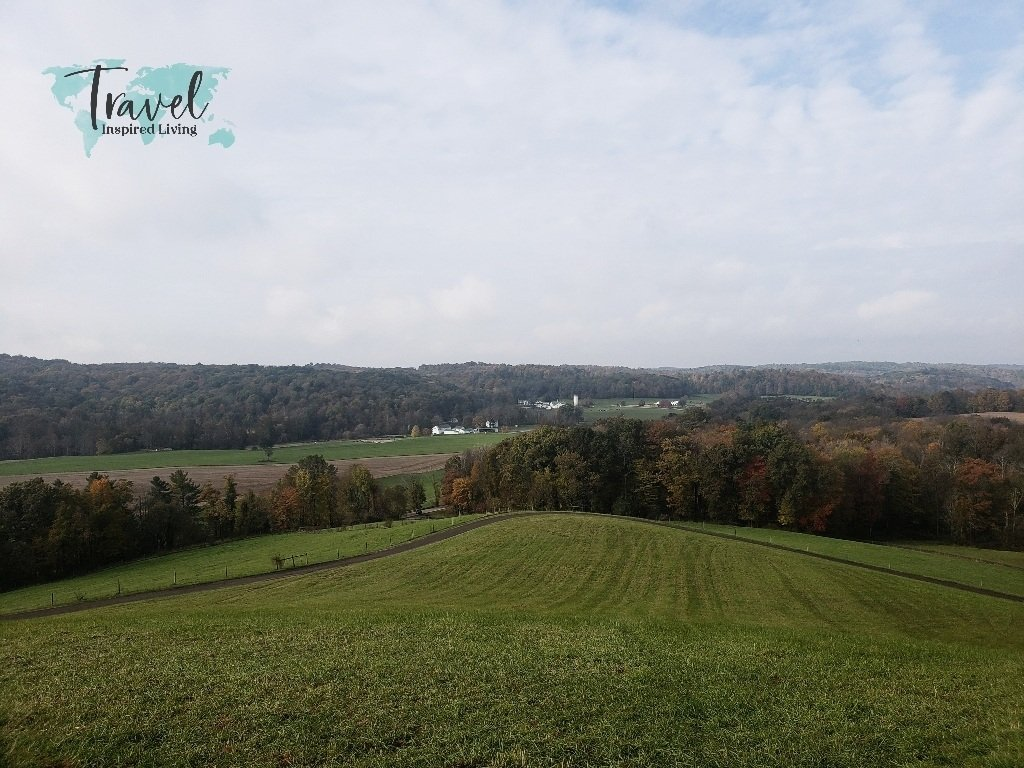 Overlook view of surrounding farmland