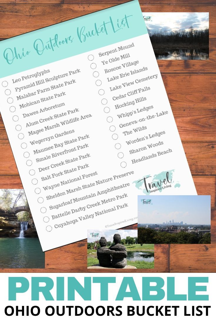 Free Printable of Ohio Outdoor Attractions to explore.
