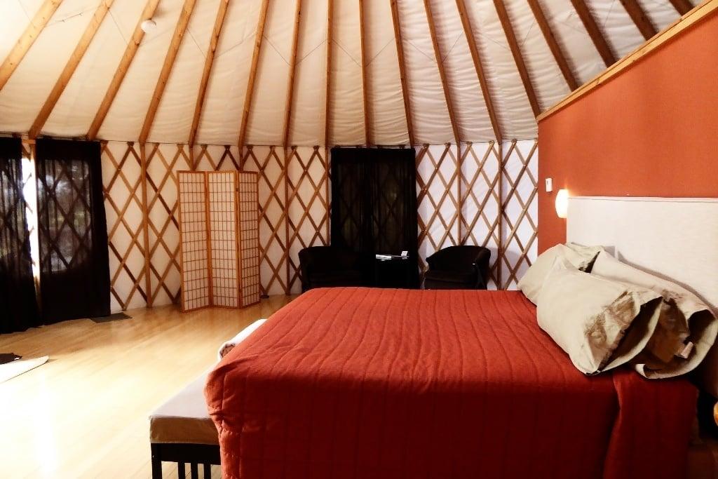 Inside a yurt modeled after traditional Mongolian yurts