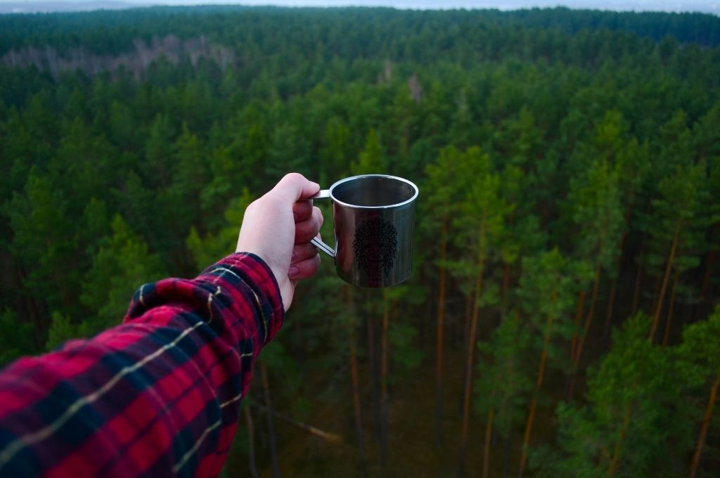 A coffee cup over a vast wilderness