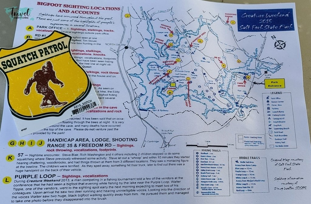 A Map of bigfoot sightings at Salt Fork State Park.