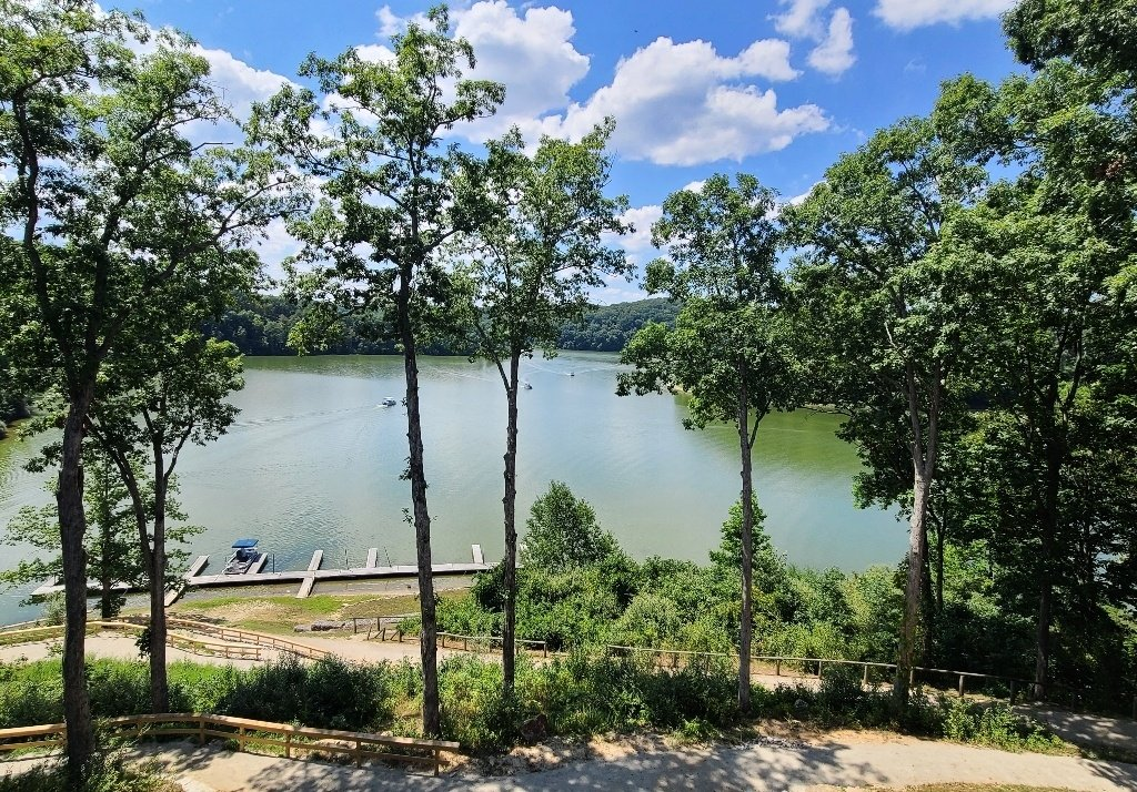 The view of the lake from Burr Oak State park Lodge