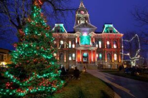 The Guernsey County Courthouse lit up for Christmas