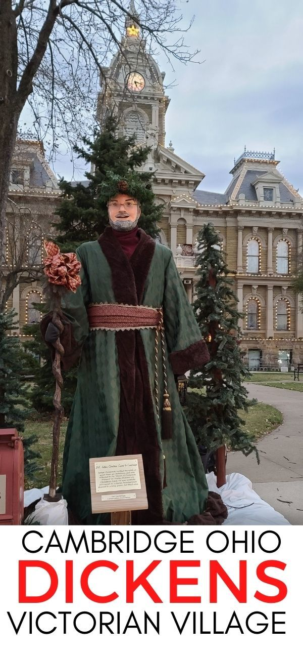Father Christmas standing in front of the Guernsey County Courthouse