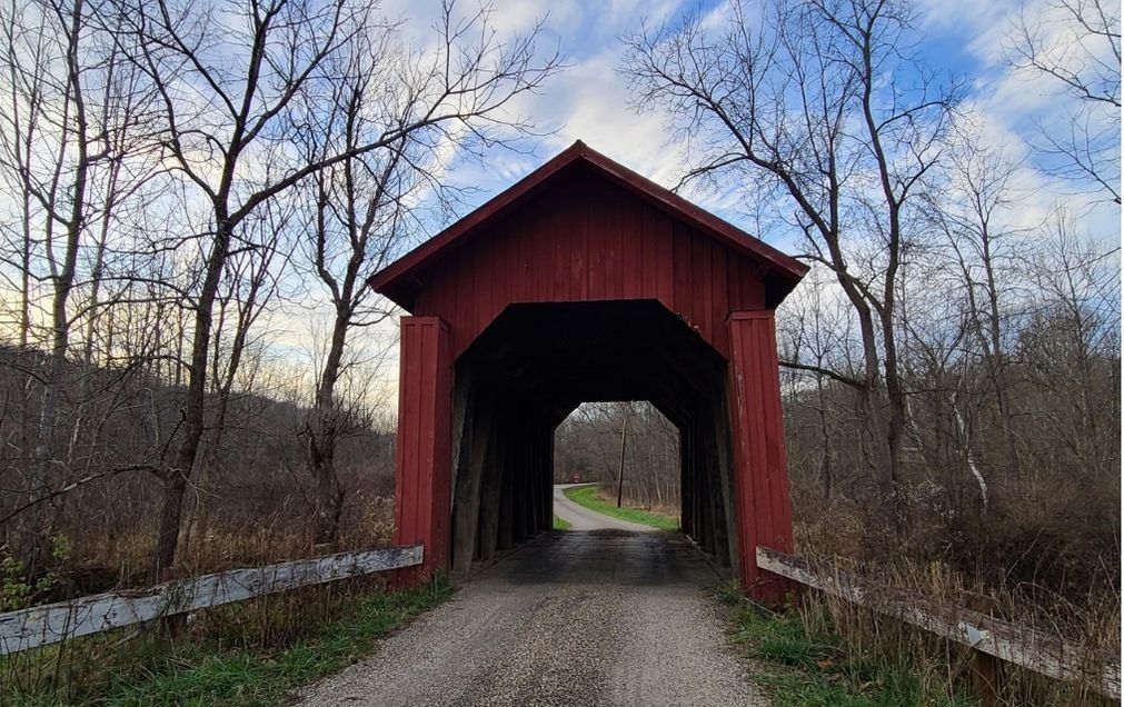 Covered Bridge located on a back road in the country