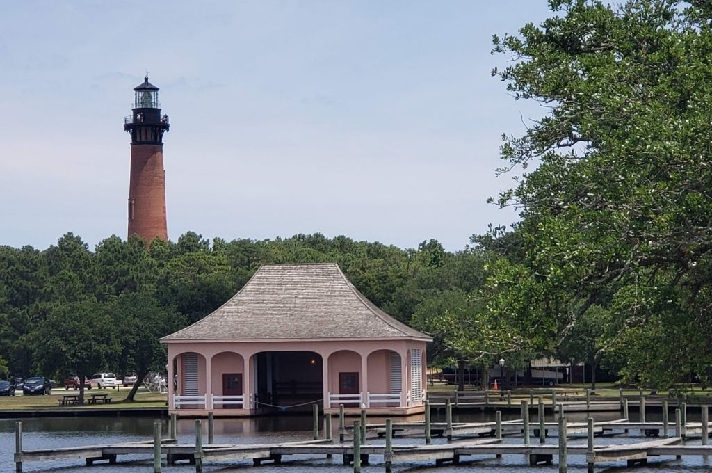 Currituck Island Lighthouse is red brick to differentiate it from other lighthouses on the coast.