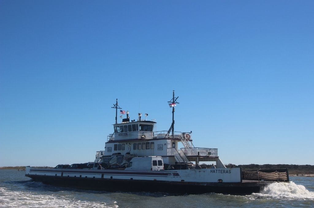 A ferry transporting people in the Outer Banks