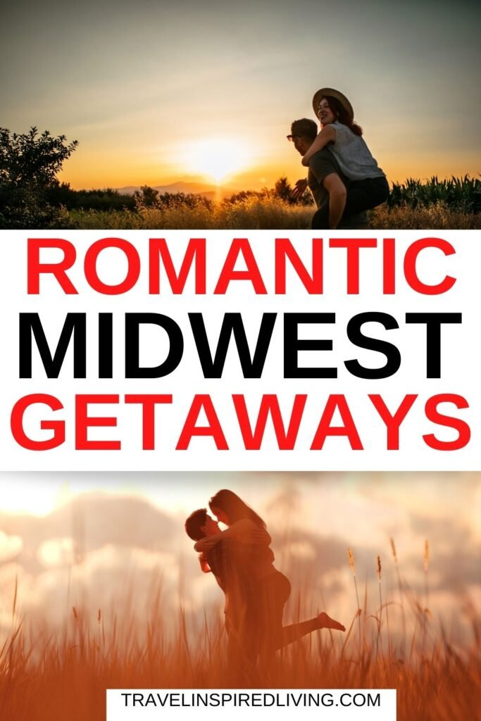 Images of happy couples embracing and a large list of romantic getaways in the midwest united states!