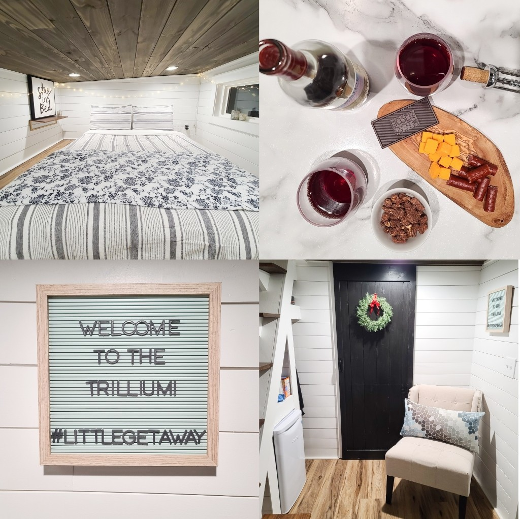 Photos from inside The Trillium tiny house.