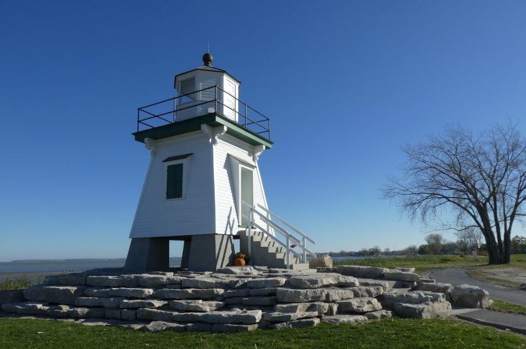 A small lighthouse in Port Clinton, Ohio that sits along Lake Erie.