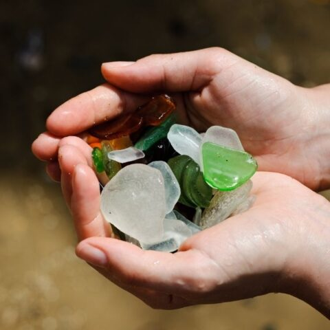 a handful of beach glass