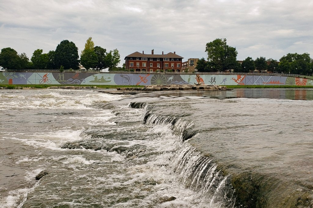 The white water feature in the RiverScape metropark provides an opportunity to river surf, kayak, stand-up paddleboard and more in a mini rapids.