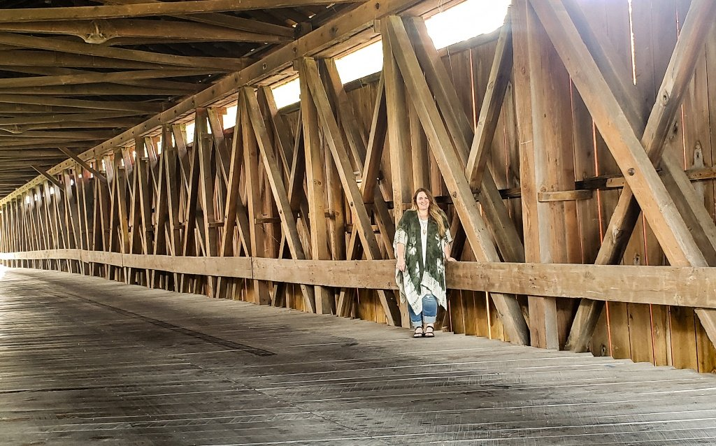 The Eldean Covered Bridge is open to foot, bike and vehicular traffic. It is one of two covered bridges remaining in Miami County.